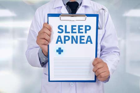 somnambulism: SLEEP APNEA Portrait of a doctor writing a prescription