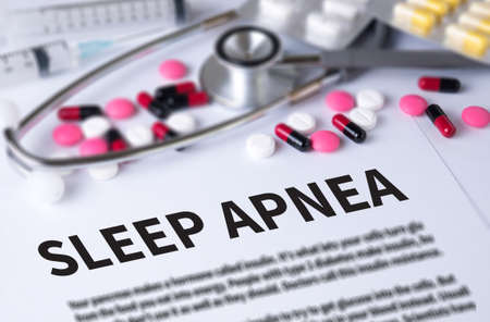 somnambulism: SLEEP APNEA and Background of Medicaments Composition, Stethoscope, mix therapy drugs doctor and selectfocus Stock Photo