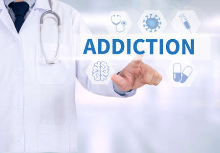 ADDICTION Medicine doctor working with computer interface as medical Фото со стока