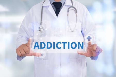 ADDICTION Medicine doctor hand working