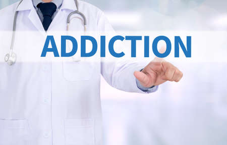 habituation: ADDICTION Medicine doctor working with computer interface as medical Stock Photo