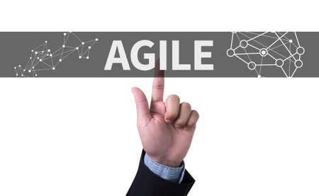 agile: Agile Agility Nimble Quick Fast Concept man pushing (touching) virtual web browser address bar or search bar