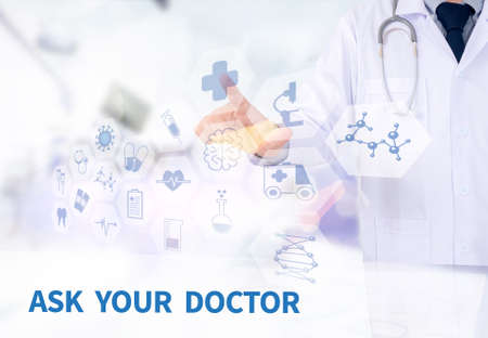 allergy questions: ASK YOUR DOCTOR Medicine doctor working with computer interface as medical Stock Photo