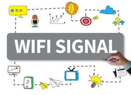 broad: WIFI SIGNAL businessman work on white broad, top view Stock Photo