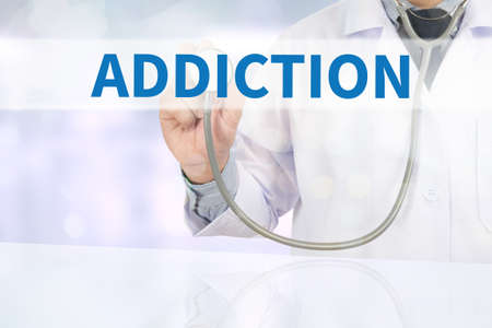physiological: ADDICTION Medicine doctor hand working on virtual screen