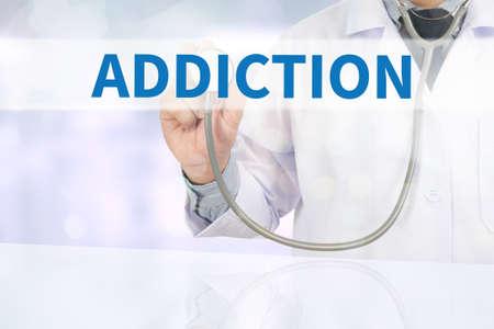 ADDICTION Medicine doctor hand working on virtual screen