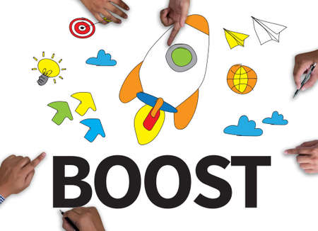 boost: Boost with wooden frame on white background. Stock Photo