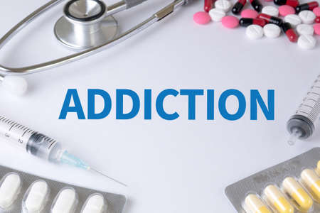 habituation: ADDICTION Text, On Background of Medicaments Composition, Stethoscope, mix therapy drugs doctor flu antibiotic pharmacy medicine medical