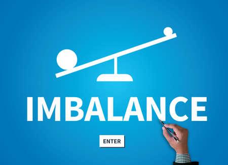imbalance: IMBALANCE businessman work on white broad, top view Stock Photo