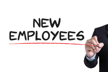 probation: NEW EMPLOYEES                    Businessman hand writing with black marker on white background