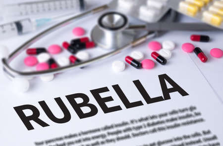 rubella: RUBELLA and Background of Medicaments Composition, Stethoscope, mix therapy drugs doctor and selectfocus