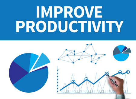 IMPROVE PRODUCTIVITY businessman work on white broad, top view