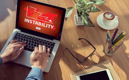instability: INSTABILITY man hand on table Business, coffee, Split tone Stock Photo