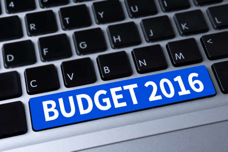 current account: BUDGET 2016 a message on keyboard Stock Photo