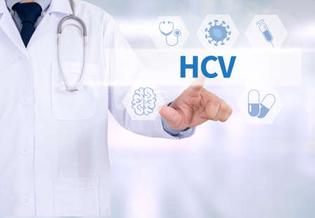 antibodies: HCV  Medicine doctor working with computer interface as medical