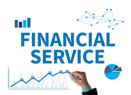 financial service: FINANCIAL SERVICE businessman work on white broad, top view Stock Photo