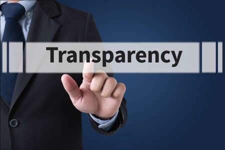 evident: Transparency Businessman hands touching on virtual screen and blurred city background