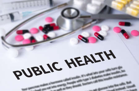public health: PUBLIC HEALTH  and Background of Medicaments Composition, Stethoscope, mix therapy drugs doctor and selectfocus