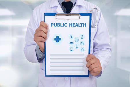 medical bills: PUBLIC HEALTH  Portrait of a doctor writing a prescription
