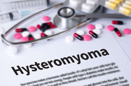 progesterone: Hysteromyoma and Background of Medicaments Composition, Stethoscope, mix therapy drugs doctor and selectfocus Stock Photo