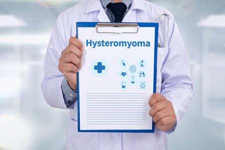 progesterone: Hysteromyoma Portrait of a doctor writing a prescription