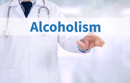 dipsomania: Alcoholism Medicine doctor working with computer interface as medical