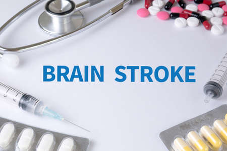 hemorragia: BRAIN STROKE Text, On Background of Medicaments Composition, Stethoscope, mix therapy drugs doctor flu antibiotic pharmacy medicine medical