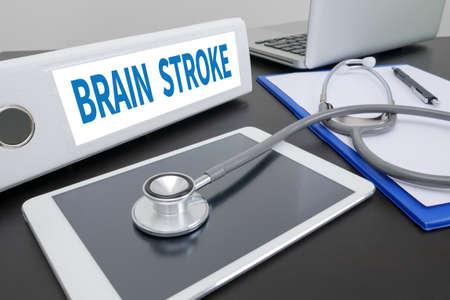 cva: BRAIN STROKE folder on Desktop on table. ipad