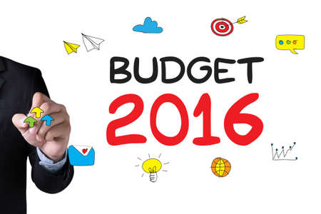 marginal returns: BUDGET 2016 and Businessman drawing Landing Page on white background