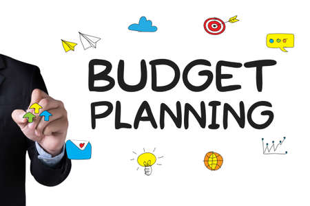 bankroll: BUDGET PLANNING and Businessman drawing Landing Page on white background