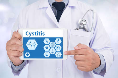 urination: Cystitis Doctor holding  digital tablet