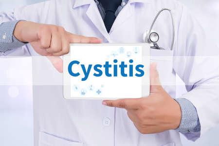 pyelonephritis: Cystitis Doctor holding  digital tablet