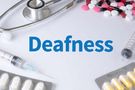 deafness: Deafness Text, On Background of Medicaments Composition, Stethoscope, mix therapy drugs doctor flu antibiotic pharmacy medicine medical