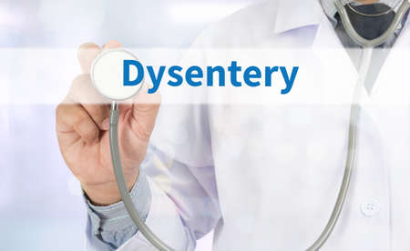 pus: Dysentery Medicine doctor hand working on virtual screen