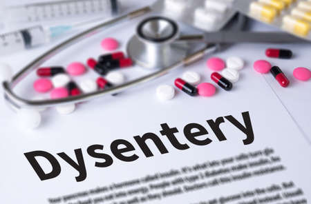 dysentery: Dysentery and Background of Medicaments Composition, Stethoscope, mix therapy drugs doctor and selectfocus
