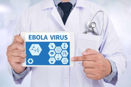 doctor tablet: EBOLA VIRUS Doctor holding  digital tablet
