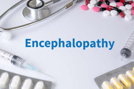 congenital: Encephalopathy Text, On Background of Medicaments Composition, Stethoscope, mix therapy drugs doctor flu antibiotic pharmacy medicine medical