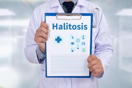 pathologic: Halitosis Portrait of a doctor writing a prescription