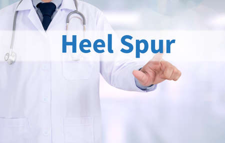 spur: Heel Spur Medicine doctor working with computer interface as medical