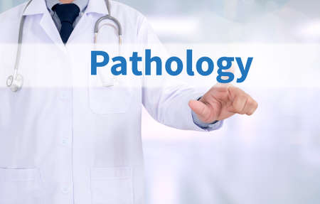 congenital: Pathology Medicine doctor working with computer interface as medical