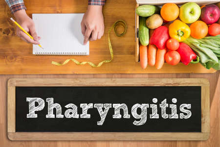 pharyngitis: Pharyngitis fresh vegetables and  on a wooden table