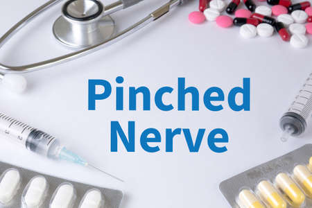 sacral nerves: Pinched Nerve Text, On Background of Medicaments Composition, Stethoscope, mix therapy drugs doctor flu antibiotic pharmacy medicine medical