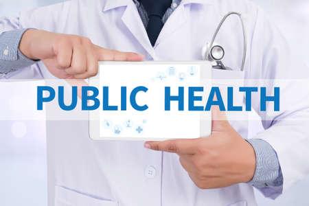 doctor tablet: PUBLIC HEALTH  Doctor holding  digital tablet
