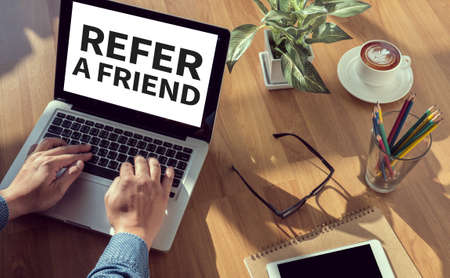 REFER A FRIEND Stock Photo