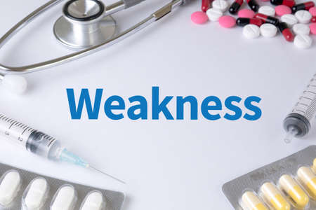 weakness: Weakness Text, On Background of Medicaments Composition, Stethoscope, mix therapy drugs doctor flu antibiotic pharmacy medicine medical Stock Photo