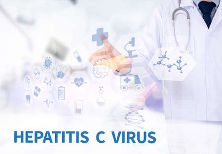 HEPATITIS C VIRUS Medicine doctor working with computer interface as medical Stock Photo