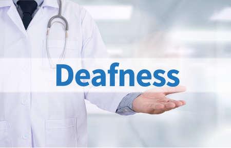 deafness: Deafness Medicine doctor hand working