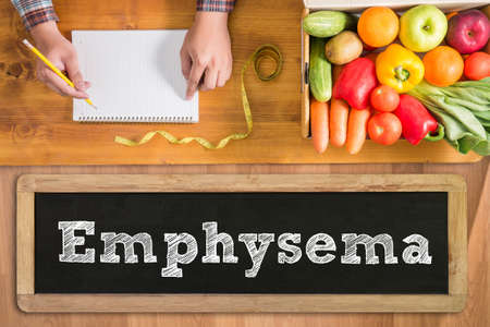 blowup: Emphysema fresh vegetables and  on a wooden table