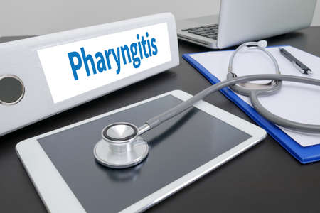 pharyngitis: Pharyngitis folder on Desktop on table.