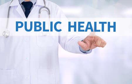 salud publica: Medicina SALUD P�BLICA m�dico que trabaja con el interfaz de la computadora como m�dica